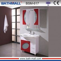 Red color PVC bathroom cabinet